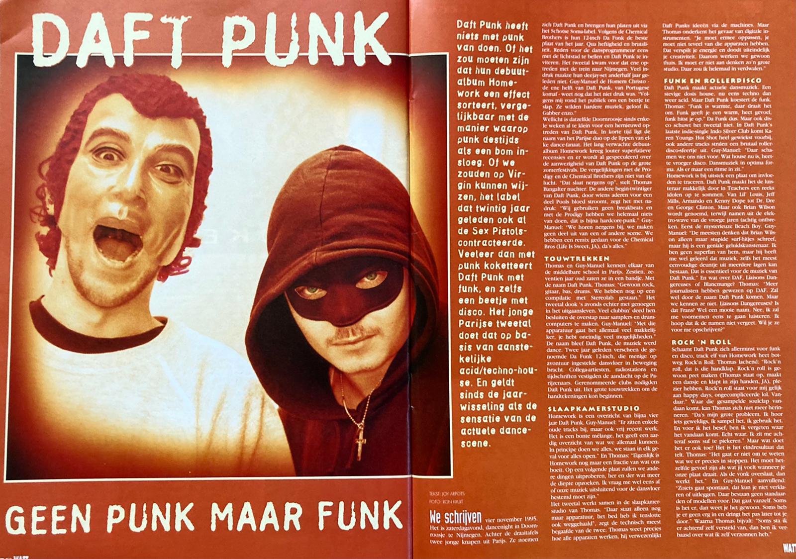 Artikel Daft Punk (bron: WATT, nr. 45, april 1997), fotografie: Ron Kruit